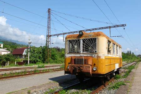 Old carriage on New Afon station, Abkhazia photo