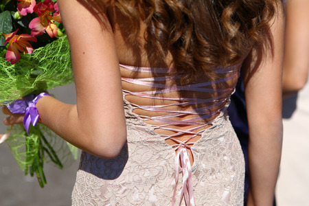 Lace on back of women evening dress