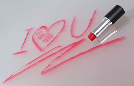 declaration: Declaration of love written by lipstick on glass Stock Photo
