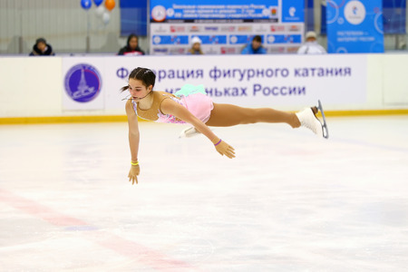 Novomoskovsk,Russia-February 10,2017:Unidentified Female Figure Skater performs Ladies Free Skating Program at Zone competitions of championship of Russia among girls and young men (advanced age) - 2 stages VIII of winter Spartakiad of pupils of Russia 20