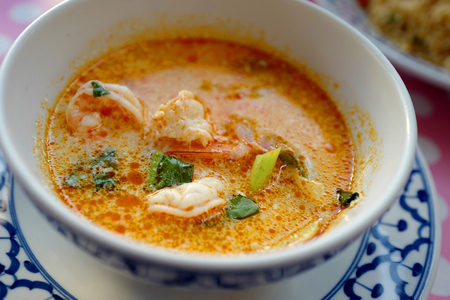 National Thai Tom Yam Kung soup in plate