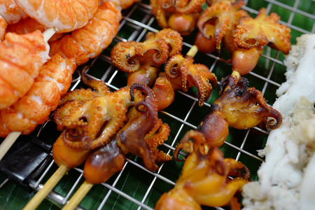 Seafood - grilled octopus on market in Thailand