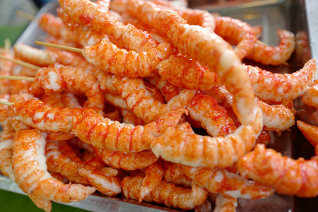 Seafood - fried fish in shrimp form on market in Thailand