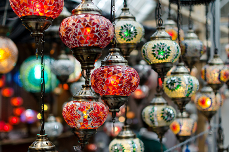 Glass lanterns exposed in a store