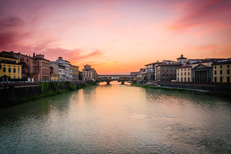 arno: Sunset of Florence on the Arno river Stock Photo