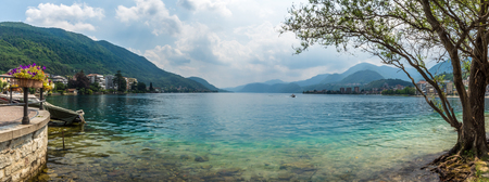 Beautiful italian omegna lake during summer period Stock Photo
