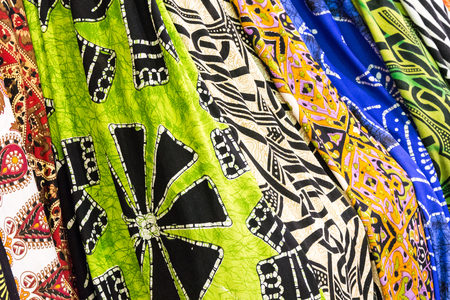 Many colored foulards ready to be sell