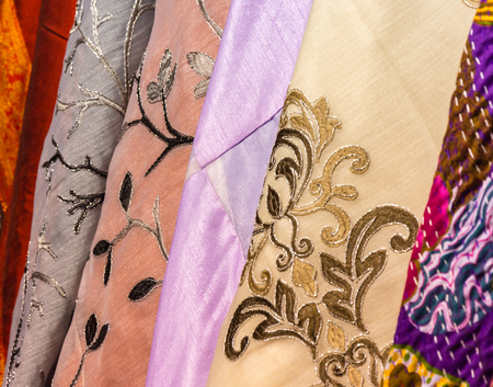 Some coloured silk foulard in market stock
