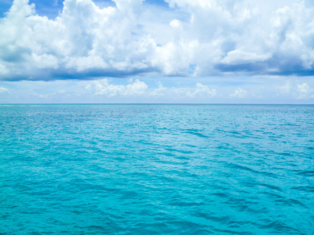 The beautiful shiny blue Caribbean sea after the storm Stock Photo