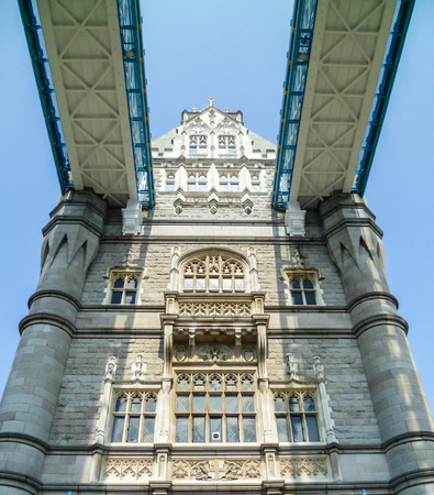 Close-up view of the beautiful Tower Bridge of London