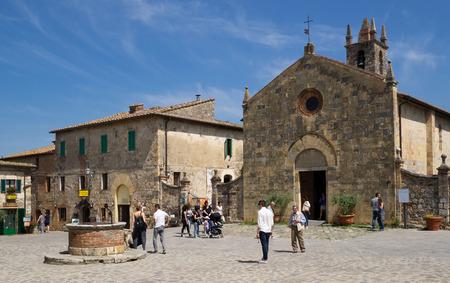 Central square of Monteriggioni in Tuscany