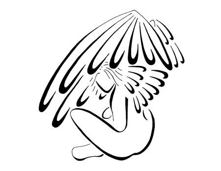 animal angelic: Beautiful Shy Angel Stock Photo