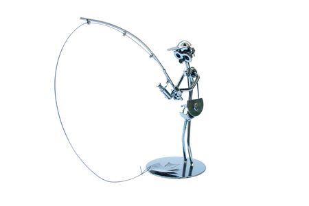 crowbar: The picture shows a metal figure of the fisherman made of metal waste. The figure is isolated on a white background.