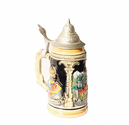 The photograph beautifully decorated traditional German mug for beer. Stock Photo