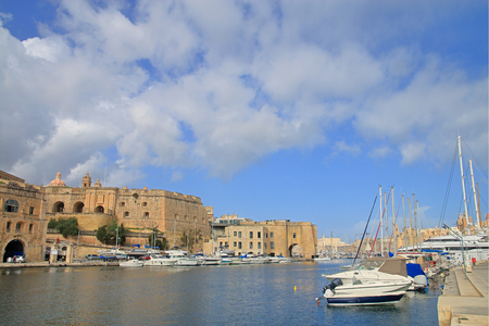 Photo taken in the month of January. The picture shows the harbor of the island of Malta with moored yachts.