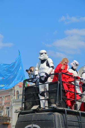 ODESSA, UKRAINE - APRIL 01, 2019. The photo was taken at the traditional festival of humor and laughter in Odessa. The picture shows the demonstration in the costumes of the characters of star wars.