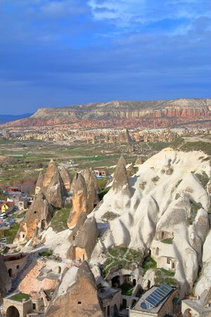 Photo taken in Turkey. The picture shows the surroundings of the city of Goreme in mountain Cappadocia, photographed from the top of the mountain.
