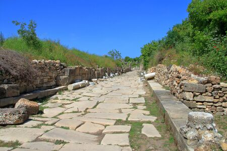 old Roman road in the ancient city of Side. Stock fotó