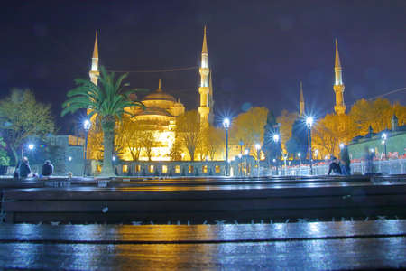 Photo taken in Turkey. The picture shows a night view of one of the most important mosques in Istanbul called the Sultanahmet.