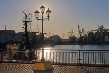 Photo taken in Ukraine. The picture shows the port of Odessa at sunset.