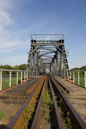 The photo was taken in Ukraine. The picture shows an old railway bridge.
