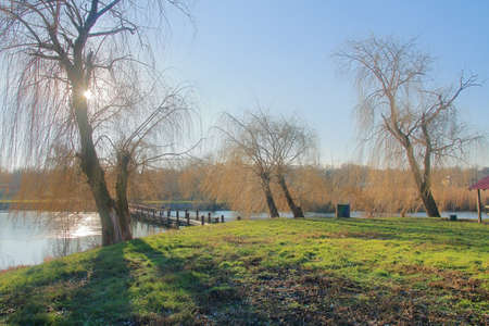 The photo shows the bank of the river called the Southern Bug on a sunny autumn day. 免版税图像