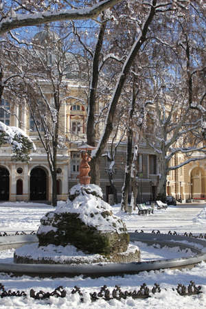 The photo was taken in the city of Odessa, in winter. The picture shows an inoperative fountain in a garden called the Palais Royal.