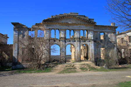 The photo shows the ruins of the old palace-estate of the Dubetsky-Pankeyevs called the Wolf's Lair in the Odessa region, the village of Vasilyevka.