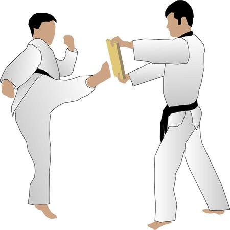 martial arts: Taekwondo doing board break.