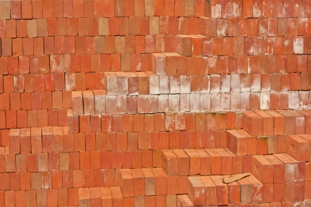 Red clay brick red solid construction material. photo
