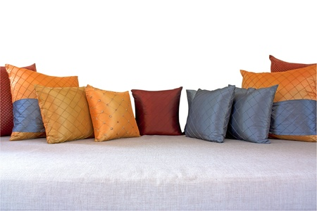 The colorful pillows scattered on the table Stock Photo - 17179533