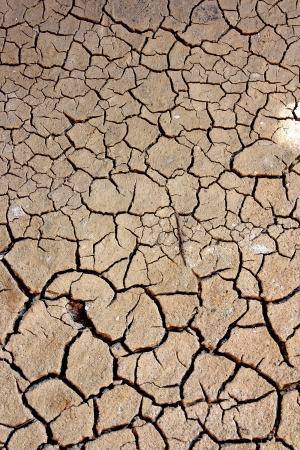 dryness: Drought, the ground cracks, no hot water, lack of moisture  Stock Photo