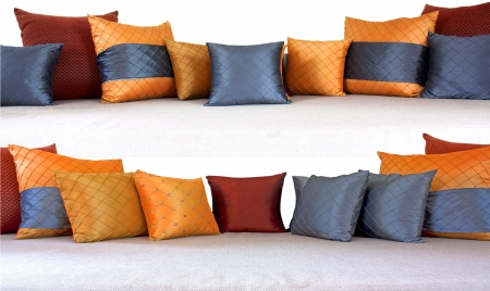 The colorful pillows scattered on the table. Stock Photo - 18367557