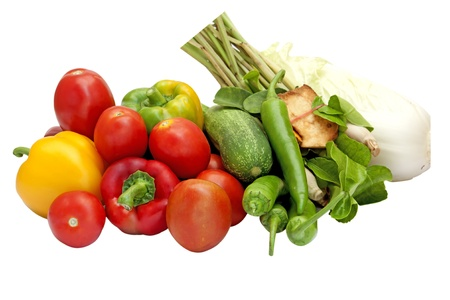 home grown: fresh home grown vegetables on table in garden  Stock Photo