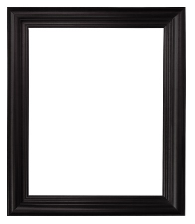 picture frame on wall: Isolated black picture frame wood white background. Stock Photo