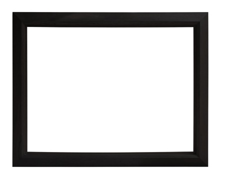 Isolated black picture frame wood white background. Stock Photo