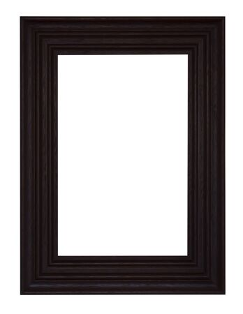 Isolated black picture frame wood white background. photo