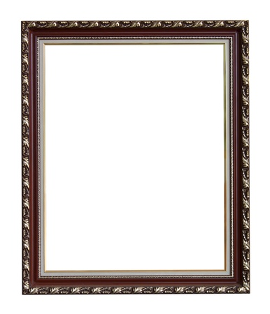 Old antique wooden picture frame  white background.