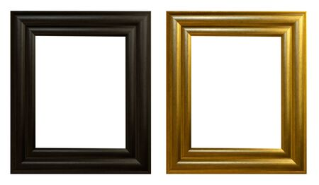 Set of golden black vintage frame isolated on white background photo