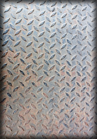 diamondplate: Old rusty metal plate to prevent slipping. Stock Photo