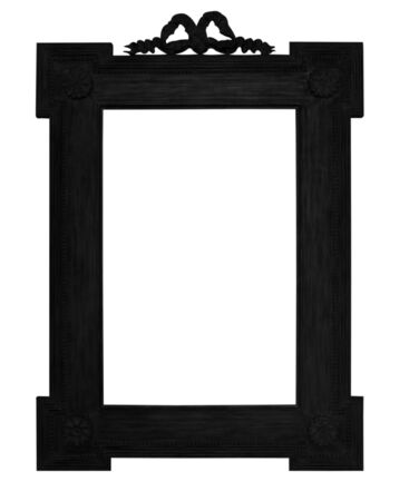 Old antique wooden black picture frame  white background. photo