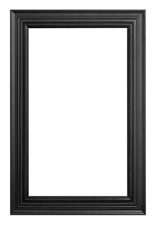 Antique wooden frame black on white background.