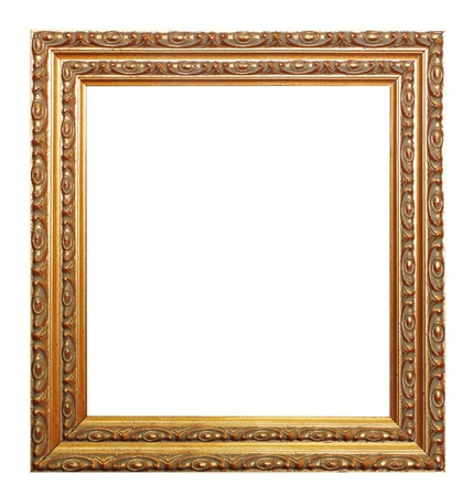 Antique wooden gold frame isolated white background. photo