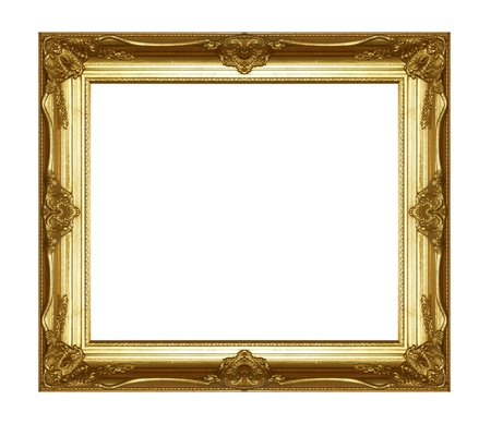 wood carving: Old gold picture frame on white background. Stock Photo