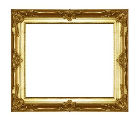 Vieil or cadre photo sur fond blanc. Banque d'images - 19833935