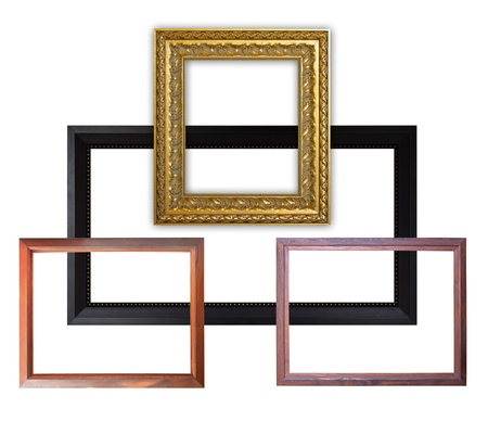 Old set picture frame on white background. photo