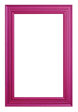 Antique wooden frame Purple on white background