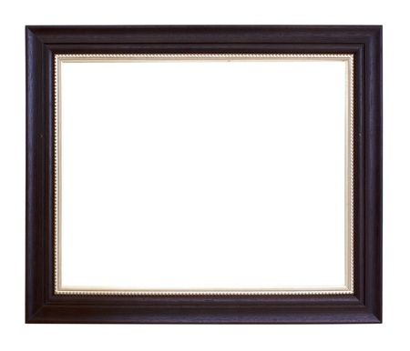 bordering: Classic wooden frame isolated on white background