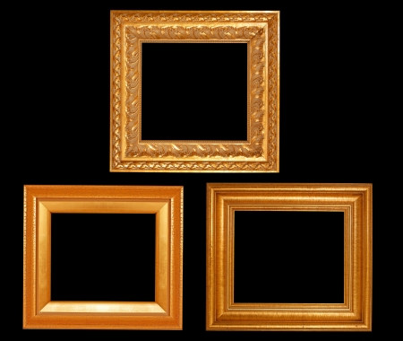 Set of golden vintage frame isolated on white background photo