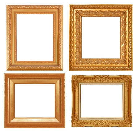 Gold antique frame isolated on gray background.